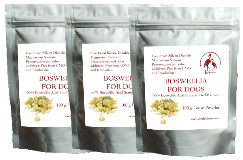 Boswellia for Dogs 3 x 100 g Loose Powder in stand up pouches.