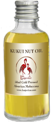 Refined Cold Pressed Kukui nut oil, 50ml Glass Bottle for £4.95.